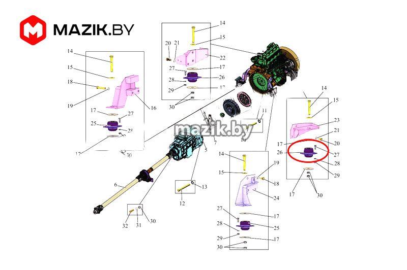 Амортизатор (подушка) двигателя АМАЗ, МАЗ ОАО 1 206060-1001015-20