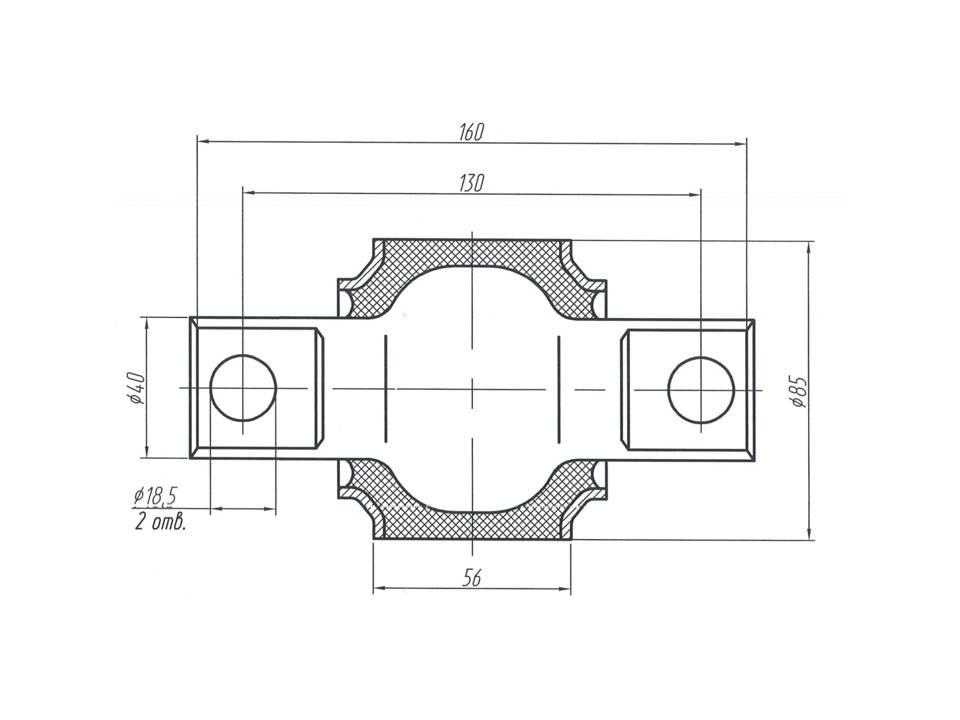 Шарнир МАЗ - втулка реактивной тяги МАЗ 1