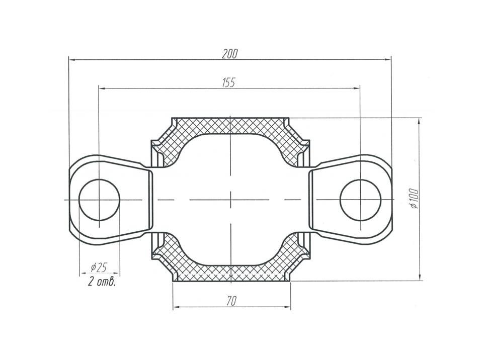 Шарнир МАЗ - втулка реактивной тяги МАЗ 3